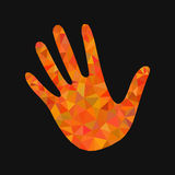 Open hand bunch of fives polygonal orange triangles Royalty Free Stock Image