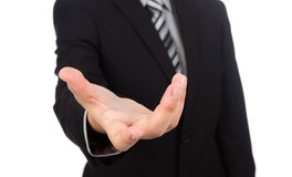 Open hand of business man Royalty Free Stock Images