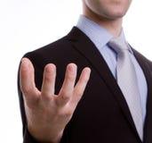 Open hand of business man Stock Photos
