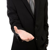 Open hand of business man Royalty Free Stock Photo