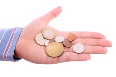 Open hand with coins Royalty Free Stock Photos