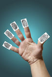 Open hand with fingerprints Royalty Free Stock Images