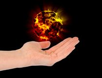 Open hand with fire ball Stock Photos