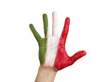 Open hand flag Italy on white bacground Royalty Free Stock Image