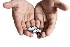 Open hand holds pixel cloud network sign Stock Photos