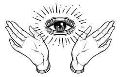 Open hand met het alle-ziet oog op de palm Geheim ontwerp vec royalty-vrije illustratie