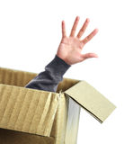 Open hand out of box Stock Images
