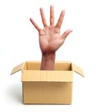 Open hand out of box Stock Photography