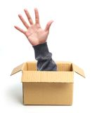 Open hand out of box Royalty Free Stock Photo