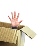 Open hand out of box Royalty Free Stock Photography