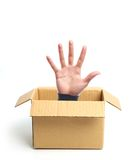 Open hand out of box Royalty Free Stock Image