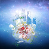 Open hand and particle design. Open hand and atomic particle design Royalty Free Stock Photography