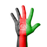 Open hand raised, Afghanistan flag painted Stock Photos