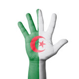 Open hand raised, Algeria flag painted Royalty Free Stock Images