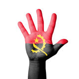 Open hand raised, Angola flag painted Stock Photography