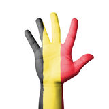 Open hand raised, Belgium flag painted Stock Photography