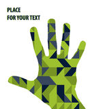 Open hand silhouette on green triangles background Stock Photo