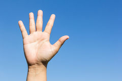 Open hand on sky background Royalty Free Stock Images