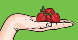 Open hand with strawberry Royalty Free Stock Photo