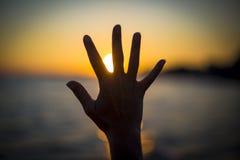 Open Hand Sun Sea Stock Photos