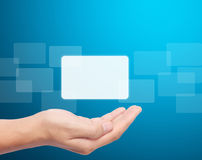Open  hand touchscreen button Stock Images