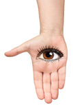 Open Hand Woman Eye Isolated Vision Stock Photo