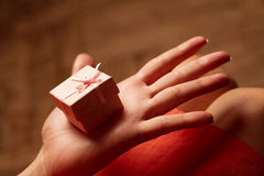 Open hand of a woman holding a small pink gift box Stock Photos