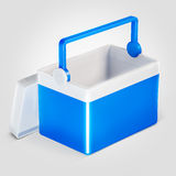 Open handheld blue refrigerator isolated over white background. Stock Image