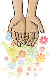 Open Hands. An illustration of open hands with flowers emerging Royalty Free Stock Image