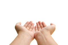 Open hands. Two open empty hands with palms up, isolated on white background Royalty Free Stock Photo