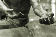 Open Hands. Image of a pair of hands reaching out - focus is on the hand and fingers on the right of image Stock Images