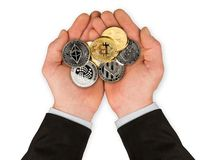 Open hands with crypto currency coins royalty free stock photography