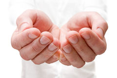 The open hands of man. Royalty Free Stock Images