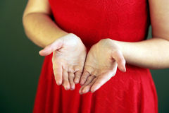 Open hands. A pair of open hands in the sunlight Royalty Free Stock Photo