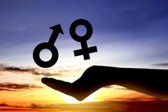 Open hands showing symbol of male gender and female gender is equal. Equality gender concept stock images