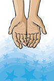 Open Hands on Stars. An illustration of open hands with a sea of stars underneath Royalty Free Stock Photo