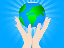 Open hands up with earth Royalty Free Stock Photography