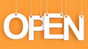 Open hanging letters Stock Photo