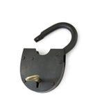 Open hangslot en sleutel royalty-vrije stock afbeeldingen