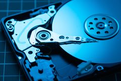 Open hard disk drive. The concept of data storage. Data array. Blue HDD. Open hard disk drive.. The concept of data storage. Data array. Blue HDD royalty free stock photos