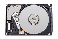 Open Hard Disk Drive. Mechanical hard disk drive opened to expose the internal components. Cover removed Royalty Free Stock Photos