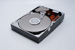 Open hard disk drive on white Royalty Free Stock Images
