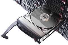 Open hard disk in hot swap frame Stock Photos