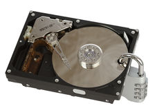 Open hard disk with padlock Stock Photography