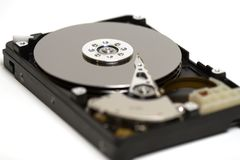 Open Hard Drive. Isolated photo of the open hard drive Royalty Free Stock Photos