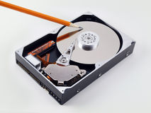 Open Hard Drive angled pencil point Royalty Free Stock Photos
