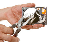 Open hard drive in hand Stock Photography