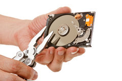 Open hard drive in hand Royalty Free Stock Images