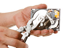 Open hard drive in hand Stock Image