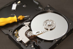 Open hard drive for repair Royalty Free Stock Images
